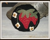 Primitive Strawberry Pincushion, Wool Applique, Cupboard Pillow - FREE US SHIPPING