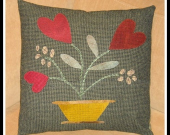 SALE!  Hearts A Bloom Pillow Cover, Felted Wool Applique, Folk Hearts, FREE US Shipping