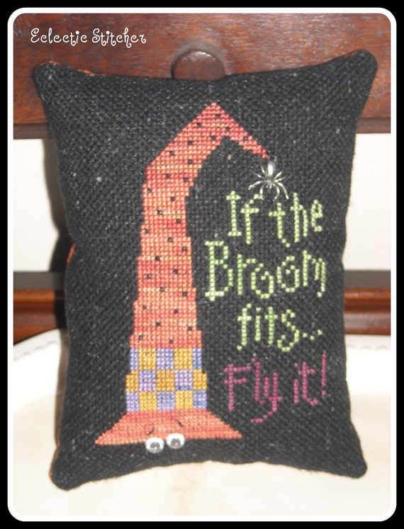 If The Broom Fits Fly It, Halloween Cupboard Pillow, Pincushion, Lizzie Kate Design Cross Stitch