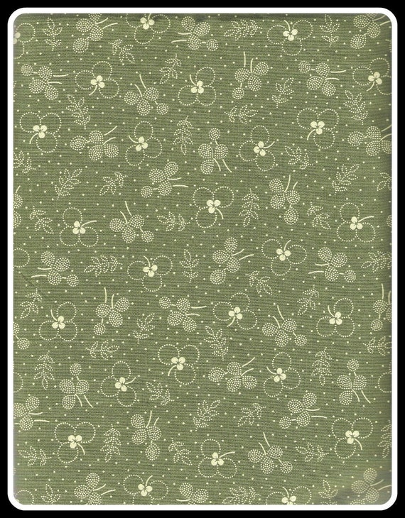 Quilting Treasures Virginia Quilt Museum Green Floral Cotton Fabric, Almost 2 yards, Destash - FREE US SHIPPING