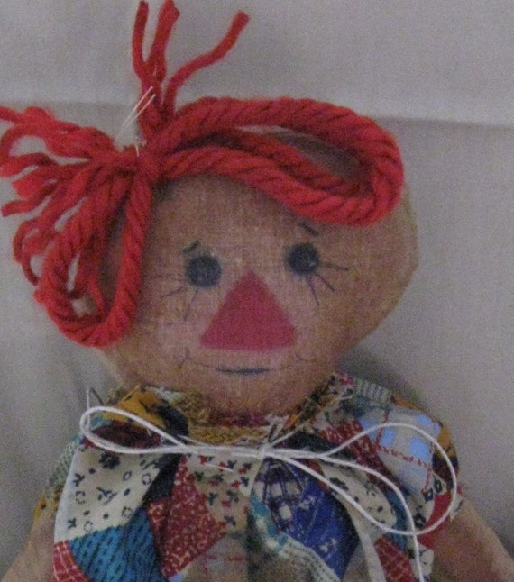10 inch primitive Rag Cloth doll, stained to look aged, Eva