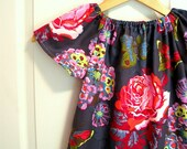 MADE TO ORDER Girls Peasant Dress Butterfly Print for Toddlers and Kids, Sizes 18m 2t 3t 4t 5 6 7 8