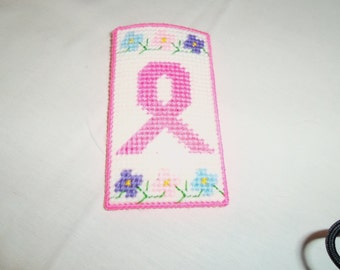 Breast cancer pink ribbon eye glass case