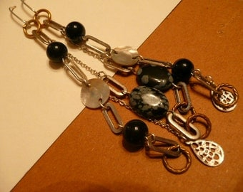 Upcycled Swinging Black and Silver Earrings For Your Wild Side