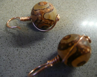Copper Wrapped Agate Round Stones
