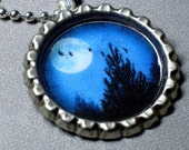 Blue Moon Night Sky Birds charm necklace with sterling silver plated bail