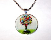 Pendant, Glass, Tree of Life, Multi Color with Free Ballchain necklace