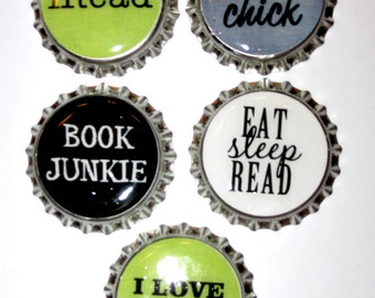 Love of Reading Books Set of 5 bottlecap magnets great gift