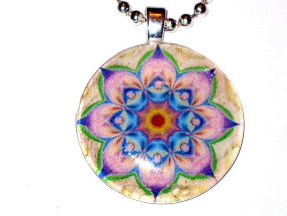 Pink and Blue Mandala Glass Pendant Stunning Design with FREE Ballchain