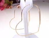 "Gold Heart Hoops - Gold Hoop Earrings - Large 2.25"" - 14k goldfill Hoops - Thin and Simple Gold Hoop Earrings"