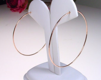 "Rose Gold Hoops - 2"" Hoops - 14k Gold Filled Hoops - Thin Gold Hoops - Thin and Simple Gold Hoop Earrings"