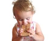 Baby toy wood teether smart phone baby geek fun teething play personalized
