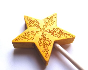 Yellow wand wood swirl design magic