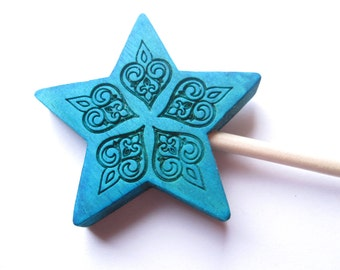Blue wand halloween wood fairy costume accessory magic wand wooden play toy