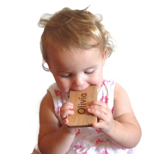 Baby toy wood teether smart phone baby geek fun teething play personalized