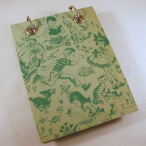 Grass Green on Mint, Kids and  Animals,  Large Refillable Recycled Notepad, Upcycled Recycled Childrens  Book