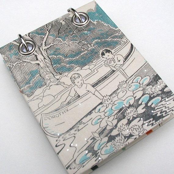 Boys in a Canoe, Pond Lilies, Turquoise, Black and White, Small  Refillable Recycled Notepad,  Upcycled Children's Book