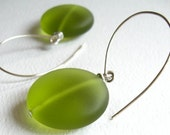 Modern Olive Green Glass Earrings, Big Mod Dots On Handmade Silver Ear Wires