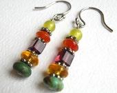 Stacked Gemstone Earrings, Multi Colored Stones