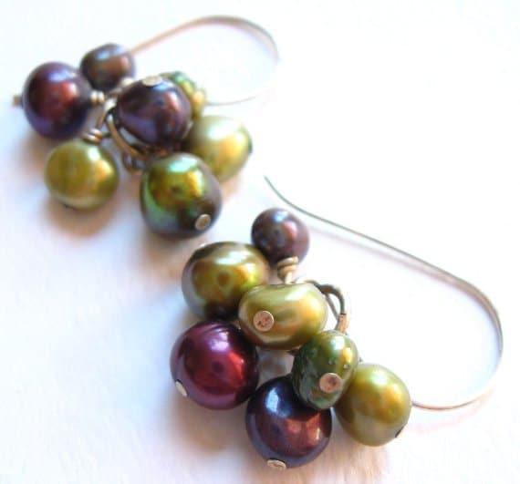 Modern Pearl Earrings, Purple Raspberry Mauve & Citrus Green Clusters On Handmade Wires