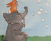 Storybook Elephant Original Childrens Art Painting by Andrea Doss