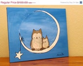 30% off Sale Kids Wall Art, Whimsical Owl Painting by Andrea Doss, 20 x 16