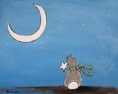 Whimsical Childrens Nursery Art, Artwork for Kids, Bunny Rabbit