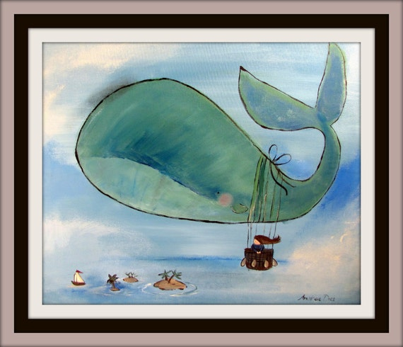 Whimsical Kids Room: Childrens Decor Whale Painting Whimsical Wall Art For By