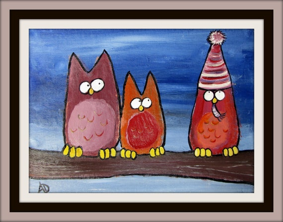 Childrens Decor Silly Quirky Owl, Woodland Storybook Painting, Artwork for Kids, Wall Art, Nursery Art, Kids Room