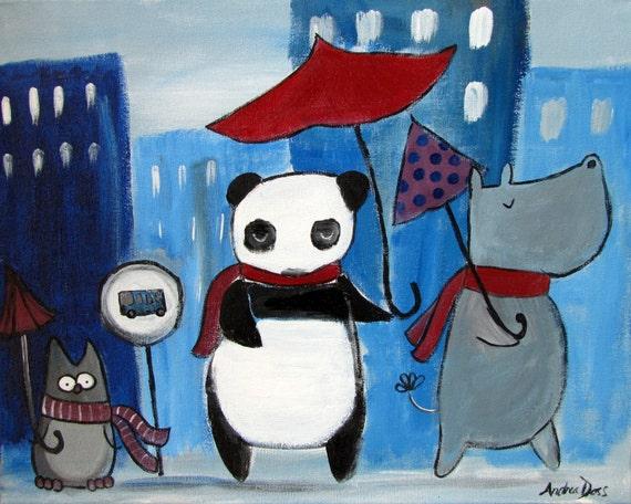 Kids Art, Whimsical Childrens City, Storybook Animals, Umbrellas, Panda Hippo Owl, Original Acrylic Painting
