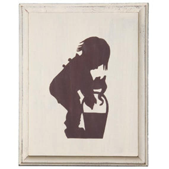 Eco-friendly, Silhouette Wall Picture, Fishing Boy  (picture for boys room, special occasion gift, gift for boys)
