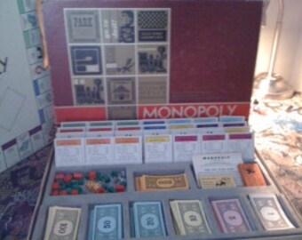 Vintage Parker Bros 1964 MONOPOLY Game RED BOX Original Pieces Styrofoam Tray