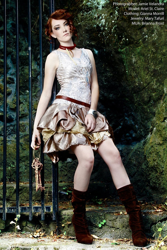 Tattered Steampunk Silver and Bronze Formal Dress