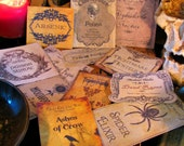 12 Halloween Potion Bottle Labels - One of a Kind Designs - Peel-n-Stick Stickers (set F)