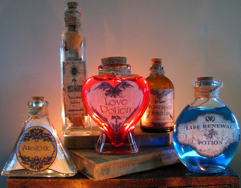 5 potion bottles halloween prop decoration set of 5 last for Bottle decoration ideas kids