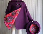Girls Coat and Beret in Plum with Owl Print Lining