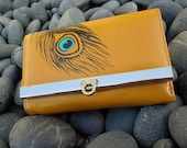 Mustard Yellow hand painted Peacock feather wallet