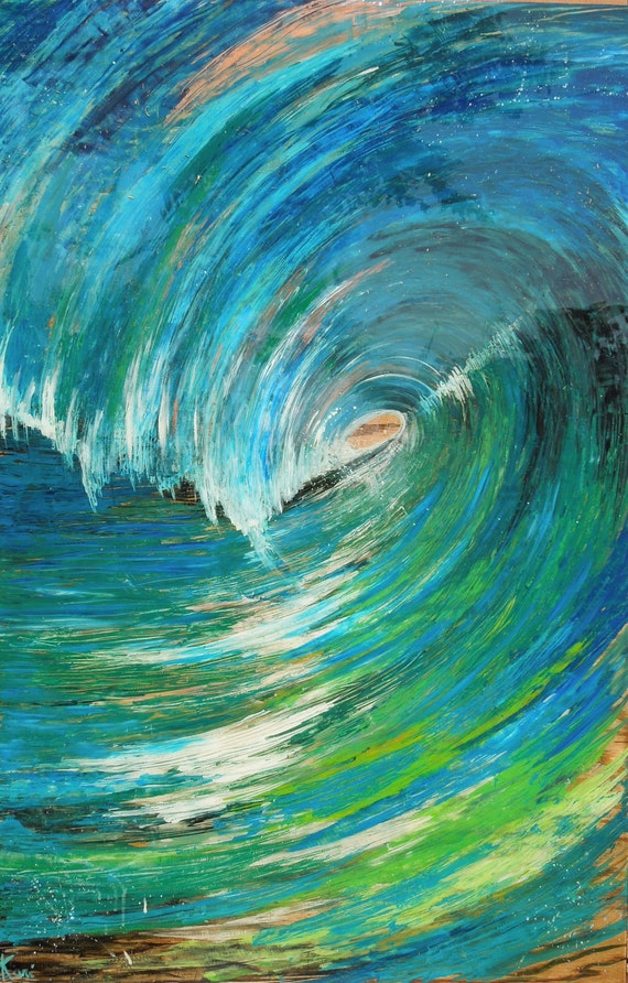 Contemporary Original Wave Painting on wood from series FREE SHIPPING in US