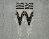 Tlingit Raven/Lightning handmade beaded earrings/Oakland Raider inspired colors