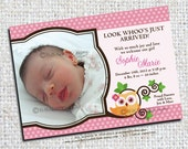 Owl Baby Girl Birth Announcement Photo Printable - Personalized Custom Photo Cards - Digital JPEG and PDF Files.