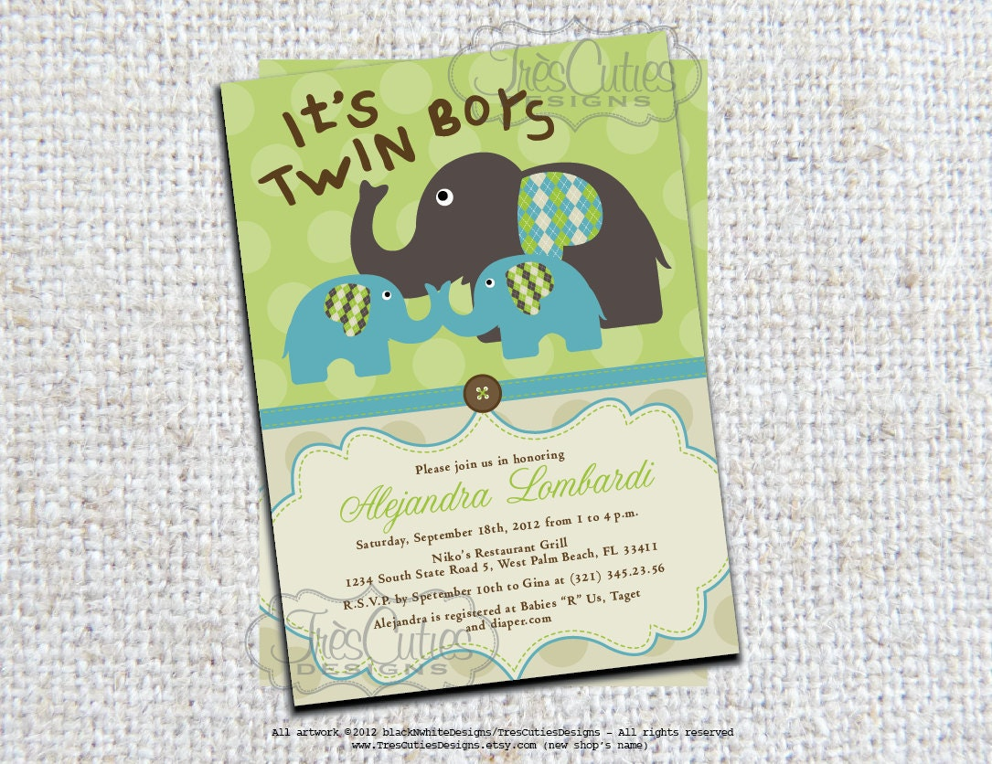 twins elephant baby shower invitation its twin boys girls
