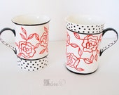 Vintage Inspired Hand Painted Mugs, Set of 2