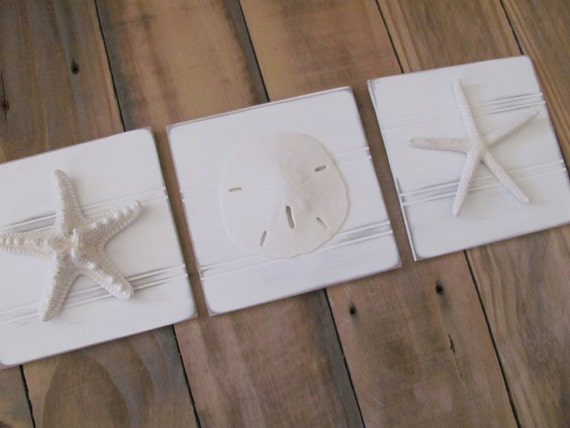 White Starfish Amp Sand Dollar Plaques Wall Decor By