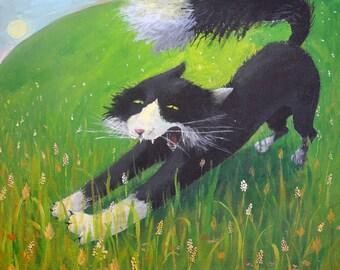 yawning cat original painting
