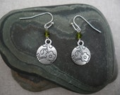 Silver Flower Earrings - Simple - Everyday - Flower Earrings with Green Crystals - Dangle - Unique & Fun Jewelry