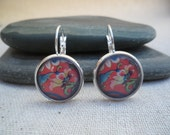 Red Earrings - Flower Earrings - Red Jewelry - Flower Jewelry - Silver Earrings - Simply Everyday - Unique & Fun Jewelry