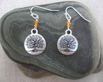 Tree Earrings - Tree of Life - Tree Jewelry - Silver Tree Earrings with Amber Crystals - Dangle - Unique & Fun Jewelry