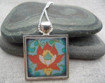 Blue Jewelry - Boho Necklace - Blue Necklace - Simple Everyday - Flower Art Pendant with Silver Necklace - Unique & Fun Jewelry