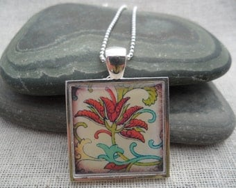 Red Jewelry - Simple Necklace - Flower Art Pendant with Silver Necklace - Square - Unique & Fun Jewelry