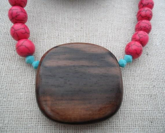 Red Necklace - Turquoise Jewerly. Wood Pendant. Simple Everyday. Unique & Fun Jewelry.
